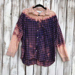 Distressed Custom bleached Flannel Shirts OOAK